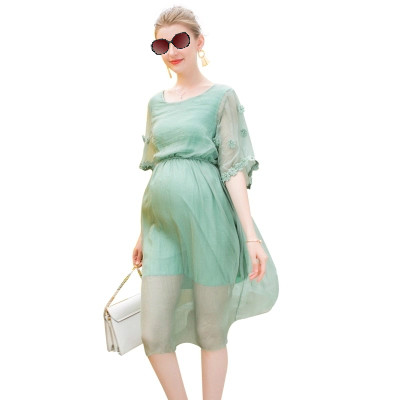 Maternity Dress Chiffon Long Pregnancy Summer Dresses Green Half Sleeve Pregnant Dress O-Neck PinkGreen Casual Maternity Clothes женское платье summer dress 2015cute o women dress