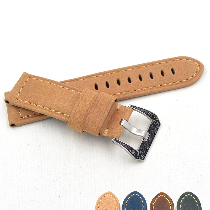 2019 New Products Italy Genuine Leather Belt Applicable for Panerai <font><b>PAM</b></font> Watch <font><b>Bracelet</b></font> 22 24mm Strap Man Luxury buckle <font><b>Bracelet</b></font> image