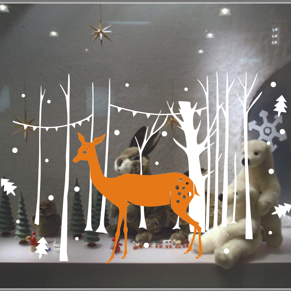 Merry Christmas Home Decoration DIY Wall Stickers <font><b>For</b></font> Kids Room Deer Elk Tree Vinyl Wall <font><b>Decal</b></font> Wall Decor Bedroom Home Decor
