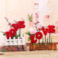 Fashion Creative Wooden LOVE Decoration Fake Flower Hand Love Valentine S Day Valentine S Day Gift