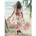 Foremode mujeres bohemia largo dress mujer beach sexy cordón del hombro slash neck dress impreso vintage dress