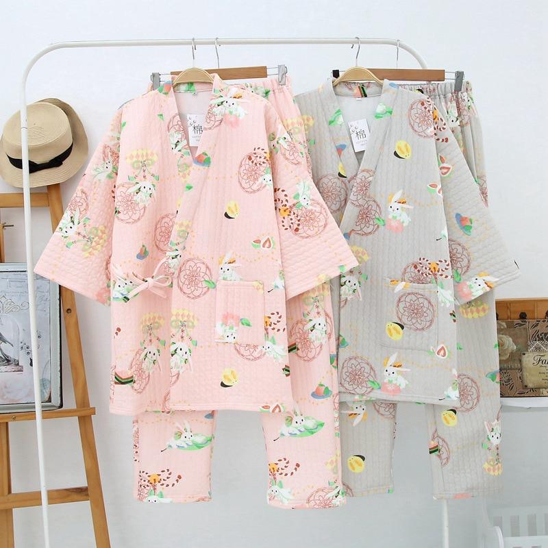 Japanese Kimono Pajamas Sets Cute Women's Yukata Long Pants Sleepwear Bathrobe Cotton Thicking Warm Nightgown Leisure Homewear