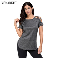 2017 Stylish Sexy Vintage Strappy T-shirt Women Solid Colors Shirts Hollow Out Slim Fit Casual Short Sleeve Female Tops E250039