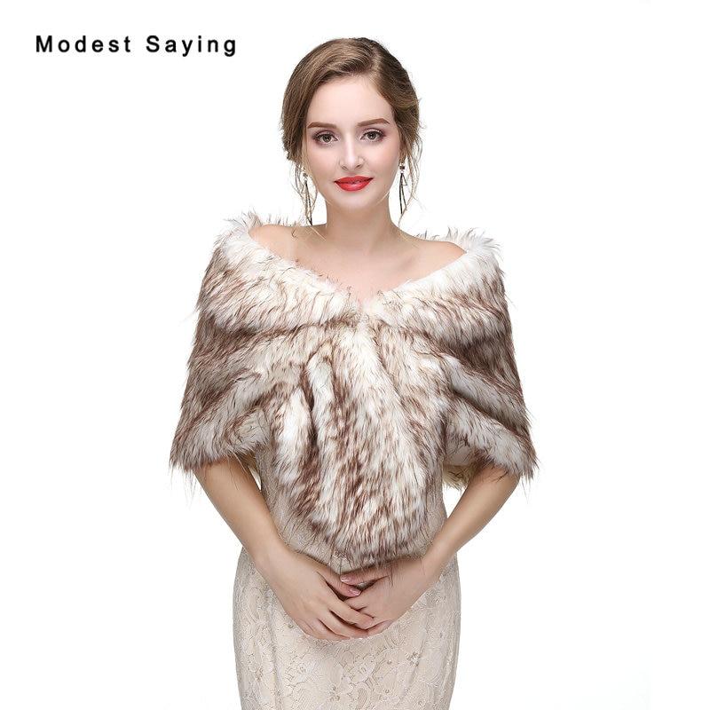 New Dark Brown Faux Fur Wedding Shawls 2017 Imitation Raccoon Fur Hair Bridal Shrugs Warm Wraps Winter Wedding Accessories