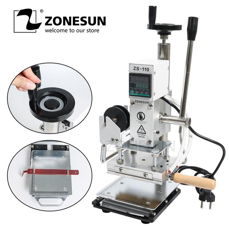 ZONESUN ZS110 scorrevole banco di lavoro Digital hot foil stamping macchina di goffratura di cuoio abbronzante di legno strumento di fornitura del mestiere di carta FAI DA TE