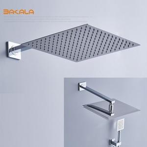 Image 2 - BAKALA Square Chrome Rain Shower Head Faucet Hand Shower Sprayer Mixer Bathroom Shower Faucet Set Thermostatic Shower Faucet