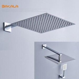 Image 2 - Квадратная хромированная насадка для душа BAKALA, смеситель для ручного душа, смеситель для ванной, Набор смесителей для душа, термостатический смеситель для душа