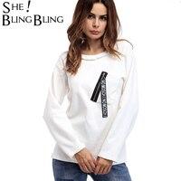 SheBlingBling Ücretsiz Boyutu Kadınlar Katı Tee 2017 Sonbahar Moda Uzun Kollu Yuvarlak Boyun Beyaz T-Shirt Cep Fermuar Patchwork Tops