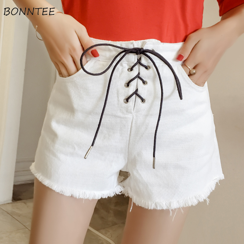 Shorts Women All-match White Drawstring Pockets Womens Trendy Summer Breathable Korean Style Outdoor Ladies Loose High Waist New