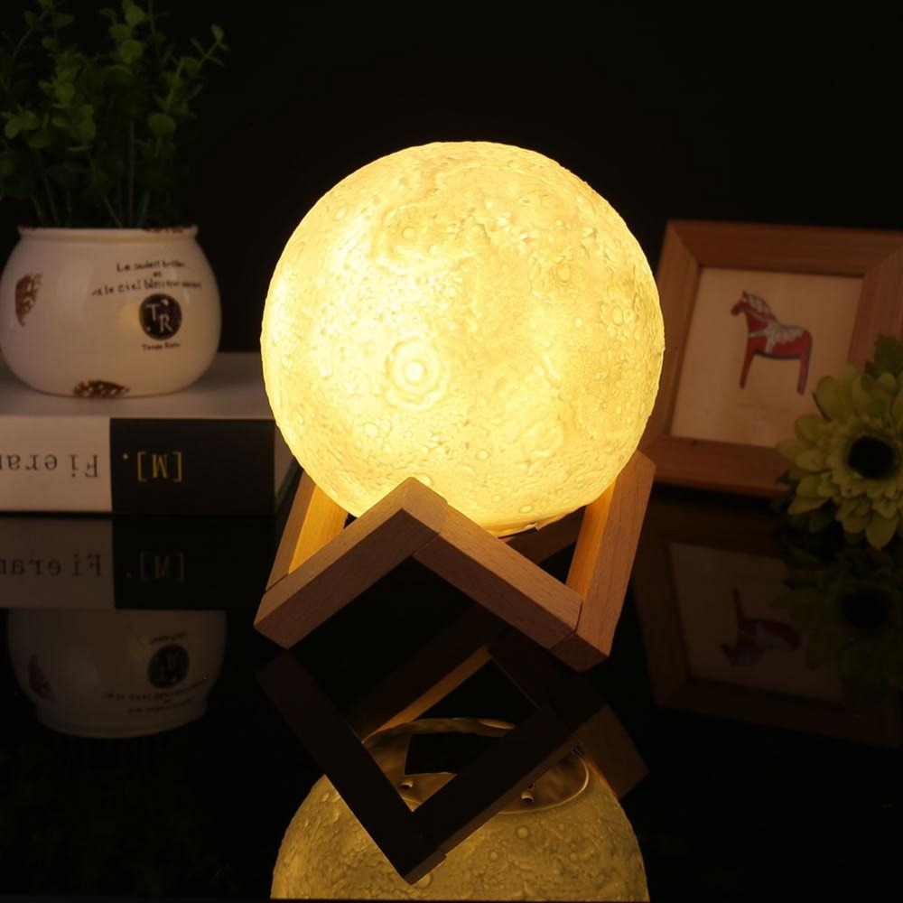 Home 3D Printing 400lm LED Beam Moon Luna Night Light LED Lamp Birthday Gift Home Party Decor