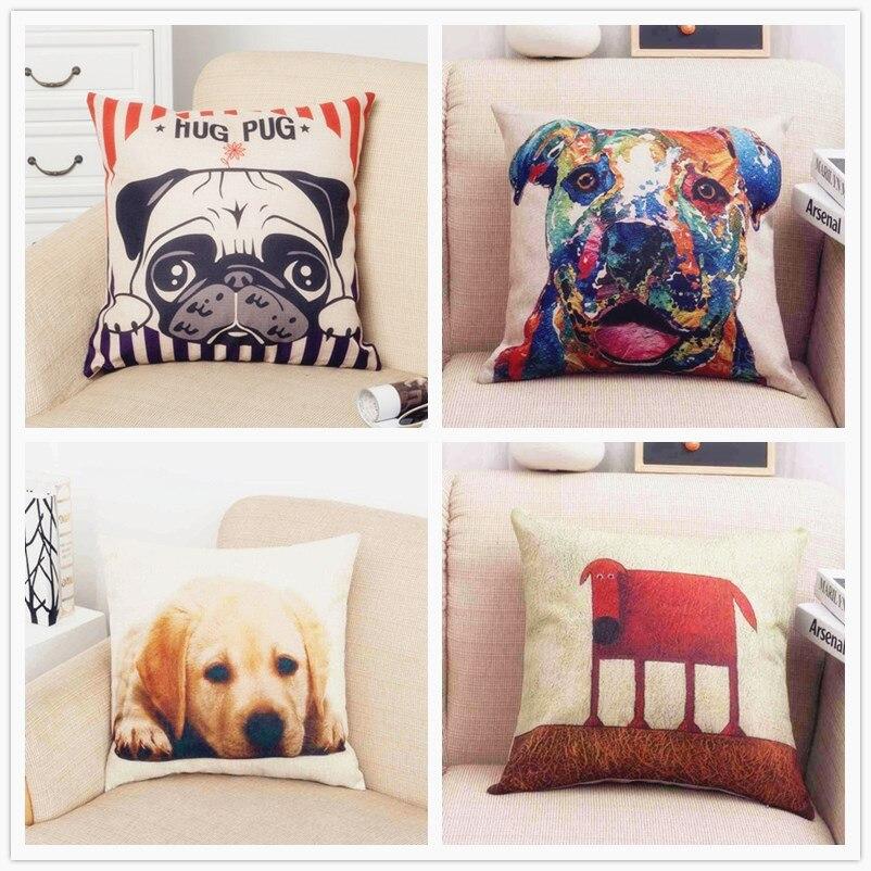 Bulldog Cushion Cover Throw Pillow Cotton Linen Pillowcase Hug Pug Printing Christmas Decoration for Home Sofa Car CC014