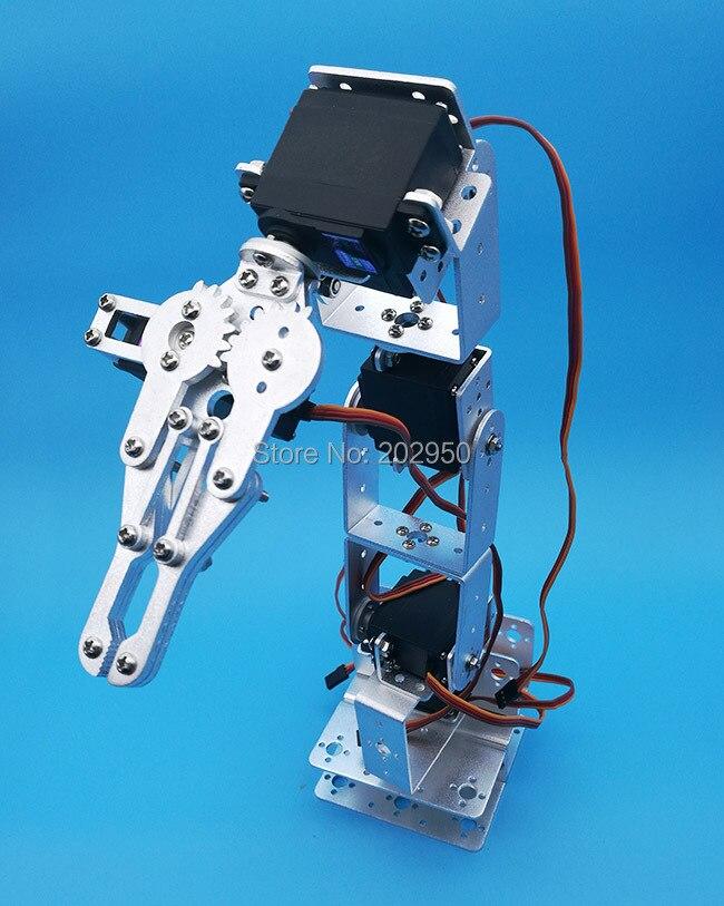ROT2U 6DOF Aluminium Robot Arm Clamp Claw Mount Kit With Servos For Arduino-Silv