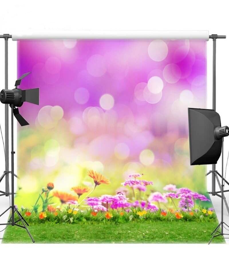 Весна фиолетовый боке Цветок Трава фото фон винила высокого качества Ткань Компьютер Отпечатано стены Фоны