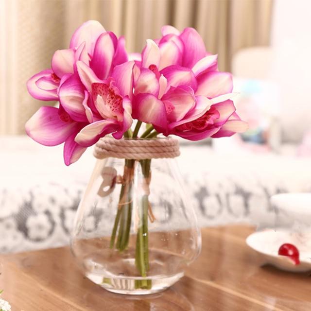 Aliexpress buy 6pcs artificial flowers real touch fake silk 6pcs artificial flowers real touch fake silk orchid flower diy wedding home decoration bouquet butterfly fleur mightylinksfo