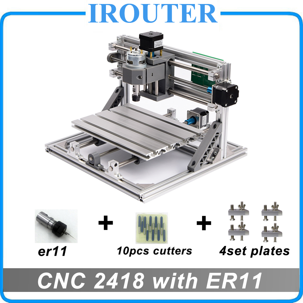 CNC 2418 with ER11,diy mini cnc laser engraving machine,Pcb Milling Machine,Wood Carving router,cnc2418, best Advanced toys cnc dc spindle motor 500w 24v 0 629nm air cooling er11 brushless for diy pcb drilling new 1 year warranty free technical support