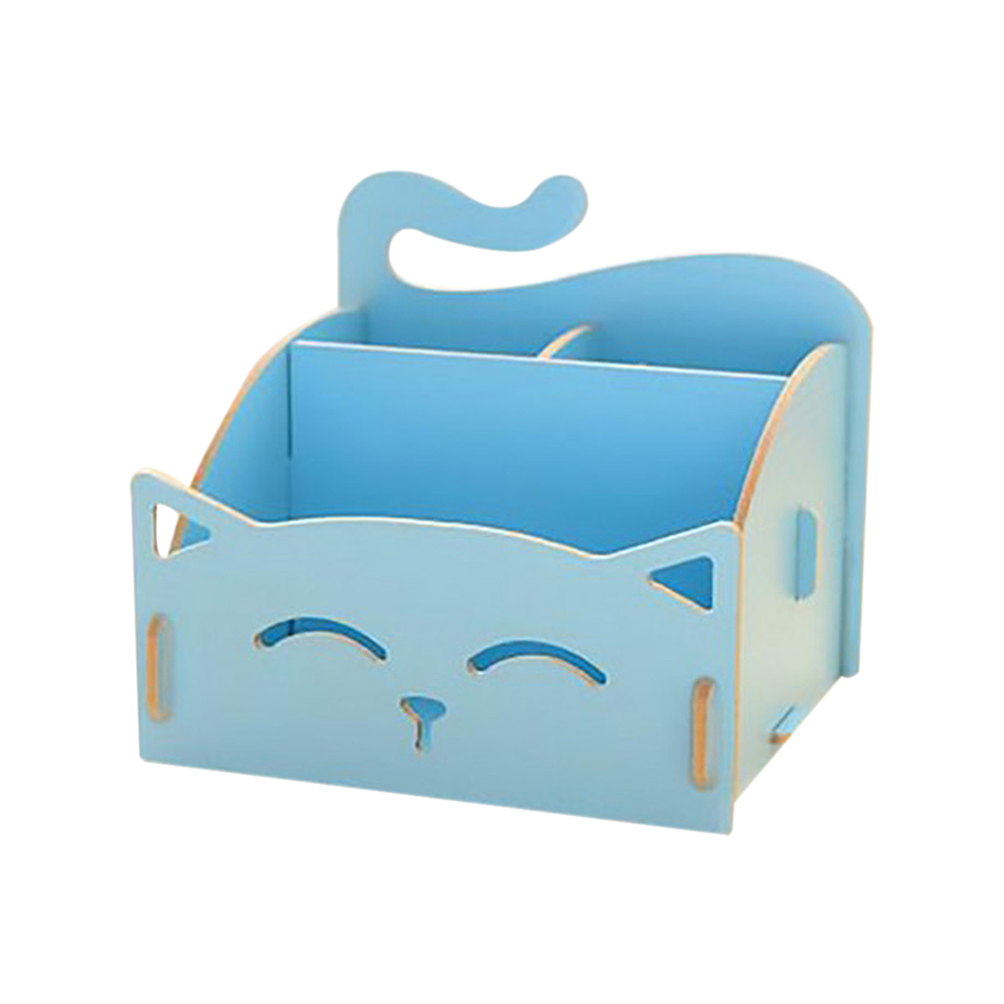 Best Wooden Box Cute Cat Pen Box Desktop Storage Assembly DIY Wood Makeup Organizer Cosmetics Storage Box 15.4*13*13.5cm (BLUE)
