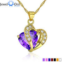 JewelOra Wholesale Multi Color Jewelry Womens Accessories 24KGP Lovely CZ Lady Pendant With Chain Statement Necklace
