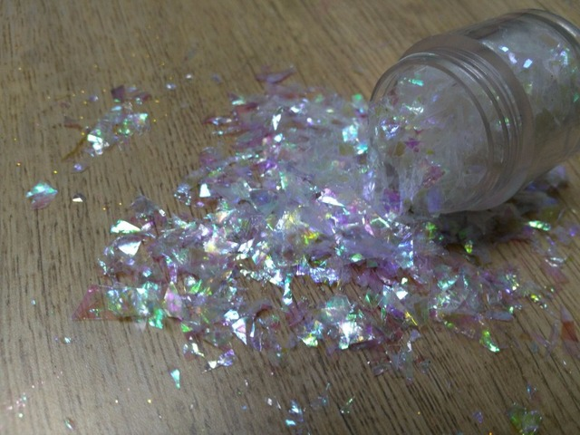Solvent Resistant Glitter Rainbow White Sprinkles Random Cut Large Confetti Flake For Nail Polish