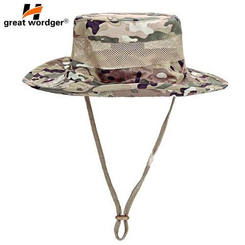 Masculino Feminino Esportes Boonie Malha Respirável Militar Camuflagem Caça Chapéu Viagem Sun Cap Caminhadas Balde Estilo Pescador Chapéus