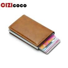 Cizicoco New Antitheft Men And Women Credit Card Holder RFID Aluminium Business Crazy Horse PU Leather MIni Wallet