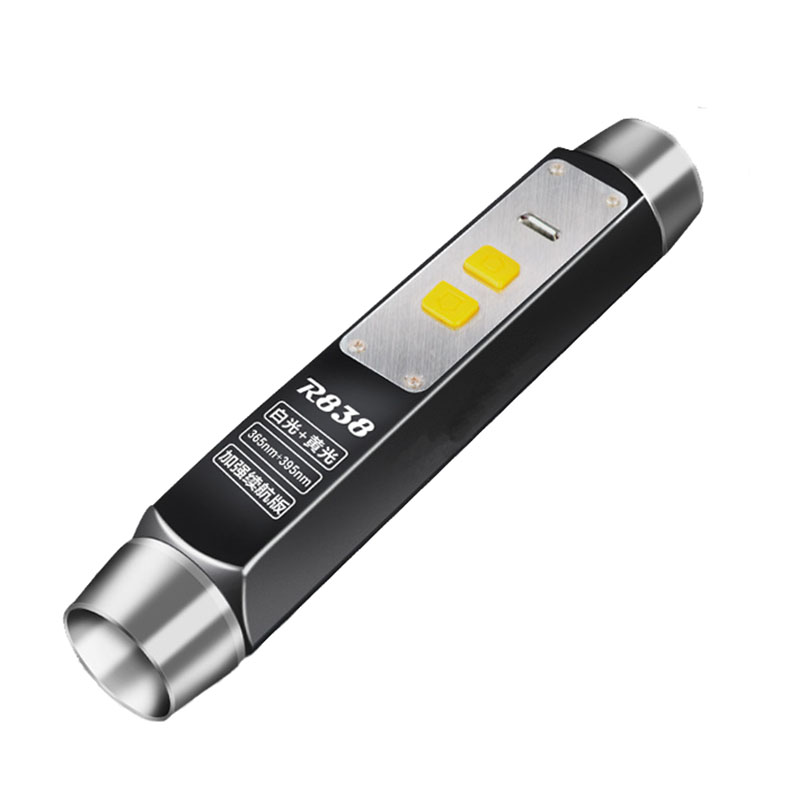 White Yellow Black UV Lights Jade Identification LED Flashlight Quad Leds USB Rechargeable Gemstones Jewelry LED
