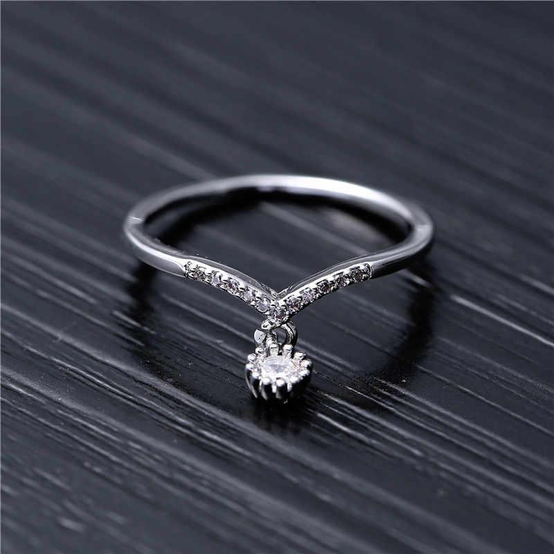 Neue Ankunft Kreuz Hochzeit Kristall Anhänger Ringe Schmuck Zirkon Ring Zubehör Großhandel Für Frauen Anillo