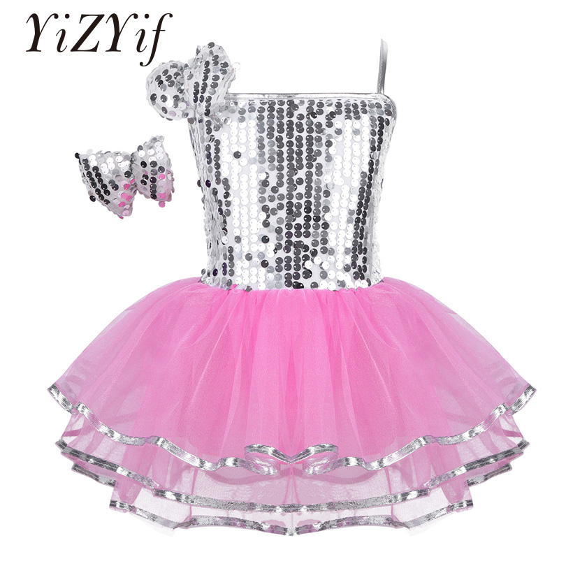 YiZYiF Girls Latin Jazz Dress Dance Costume Outfit Sparkly Sequins Mesh Dress With Hairclip Modern Contemporary Dance Clothes