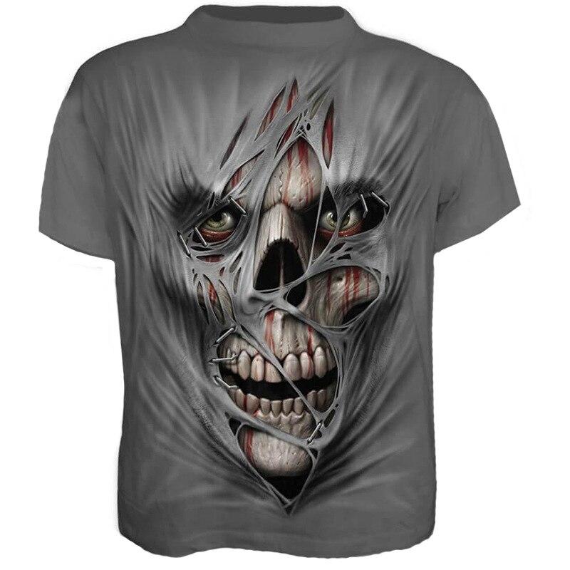 New Men's Summer Short Sleeve 3d Skull   T  -  Shirt   Gothic Strange monster   T     Shirt   Horror Skull Hot 3D tshirt Cool Men's O-neck Tops
