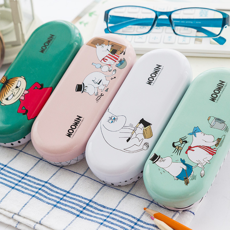 Q24 Kawaii Hippo Cartoon Tin Glasses Case Desktop Storage Box School Office Supply Gift Student Stationery
