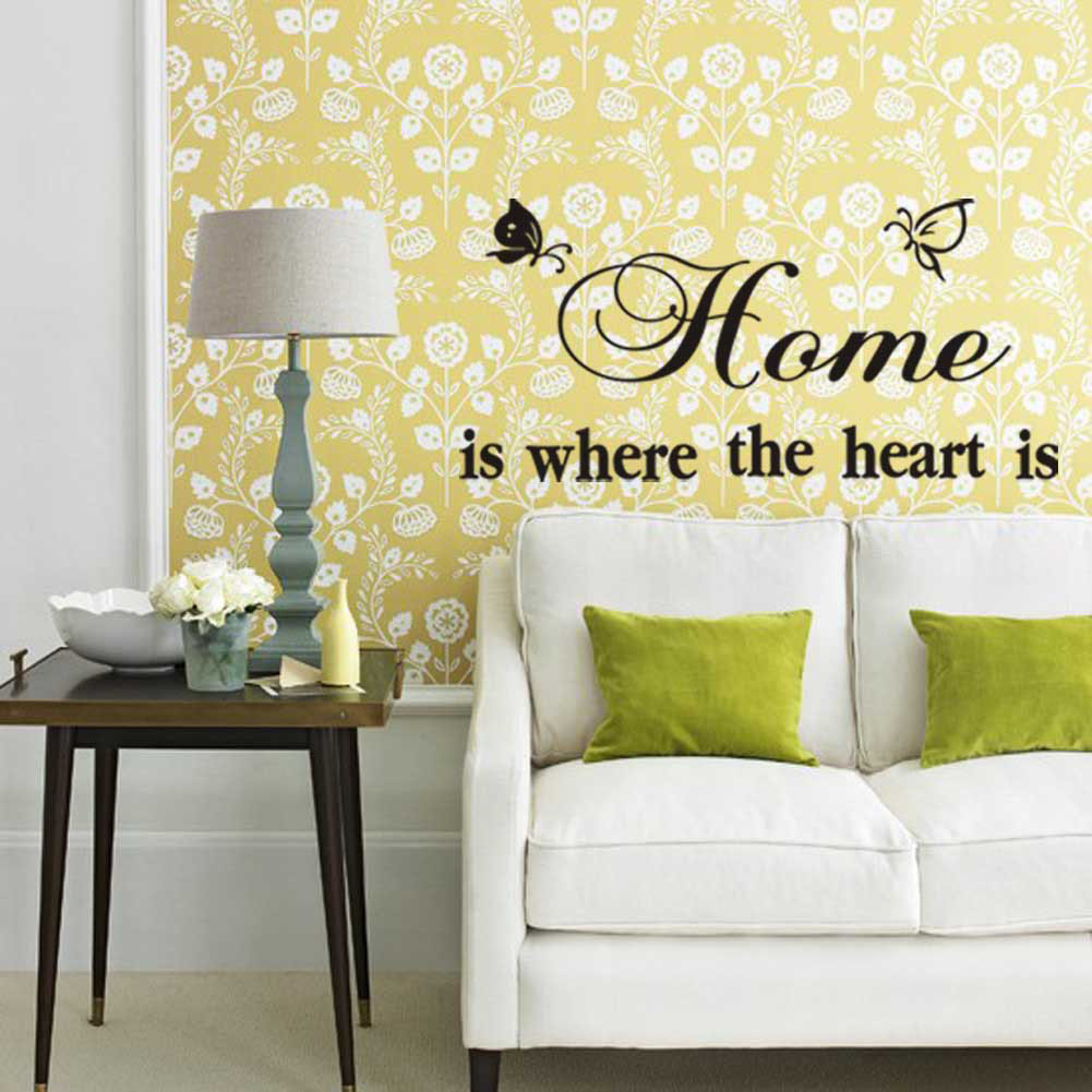 Butterfly Letter Home Is Where The Heart Is Room Decor Wall Sticker ...