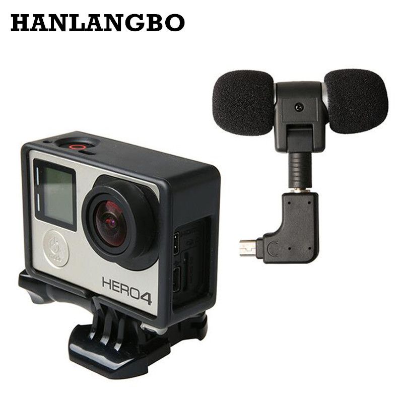 Mini Stereo Microphone for Go Pro Hero4 Standard Protective Frame Case for Gopro Hero 4 3+ 3 USB to 3.5mm Mic Adapter Cable Cord камера сиджей 4000