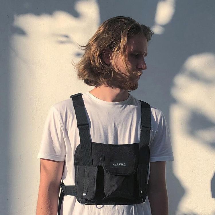 Chest Bag Men Crossbody Bag Black Vest Hip Hop Streetwear Functional Tactical Harness Chest Rig Kanye West Wist Pack Chest Bag