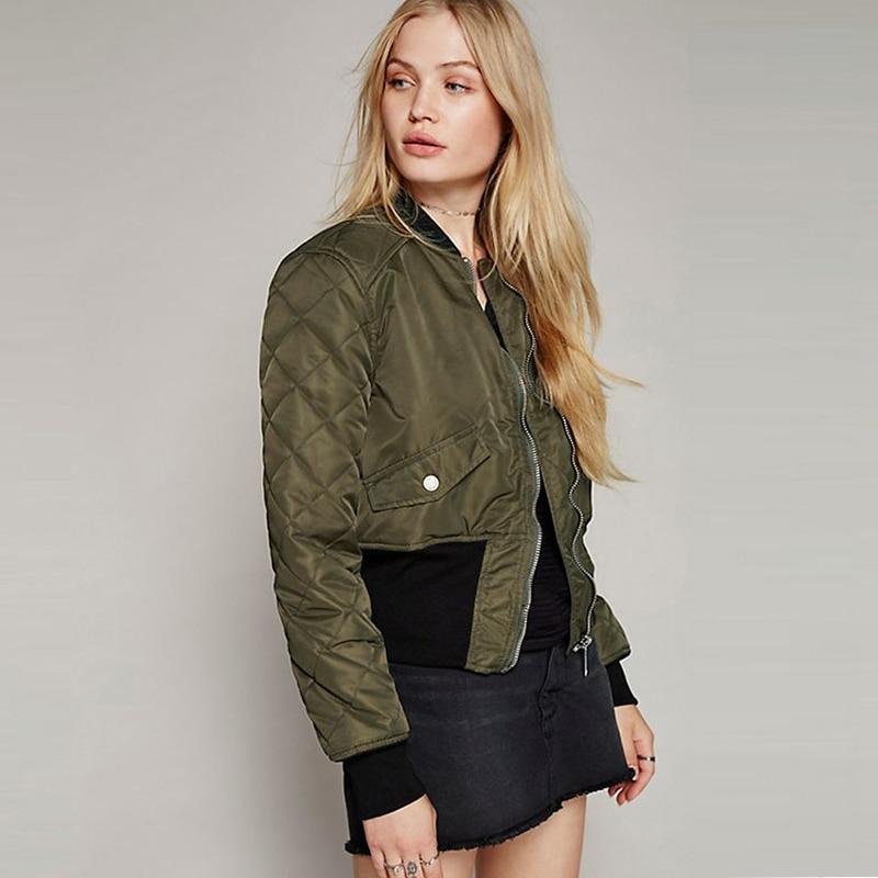 Short rib collar army green padded bomber jackets women ...