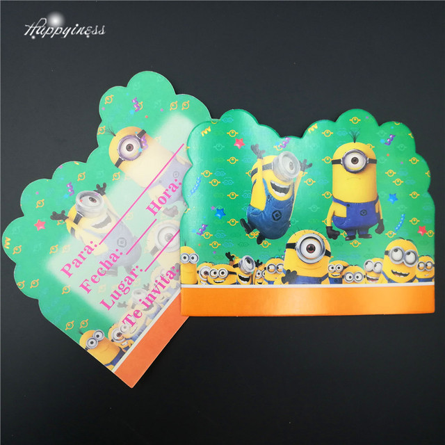 Us 3 05 10pcs Lot The Minions Birthday Invitation Cards Theme Party For Boy Kids Birthday Decoration Theme Party Supply Festival In Cards