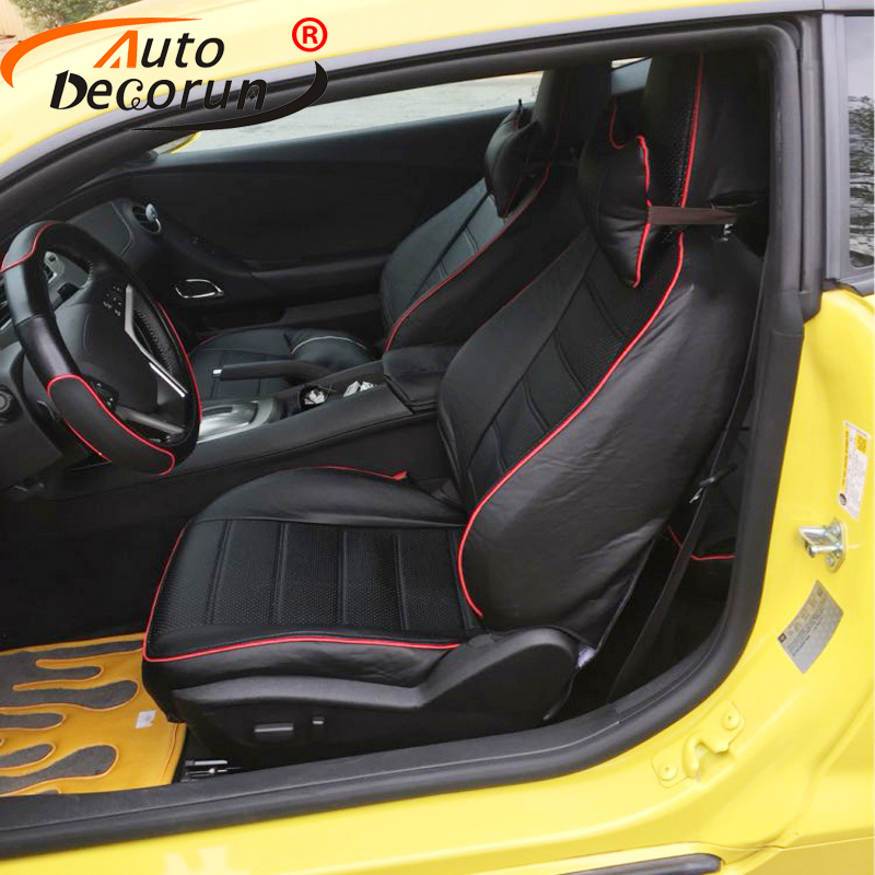 AutoDecorun Custom PU leather seat covers for Chevrolet Camaro accessories 2010 seat cover set car seat cushion supports styling
