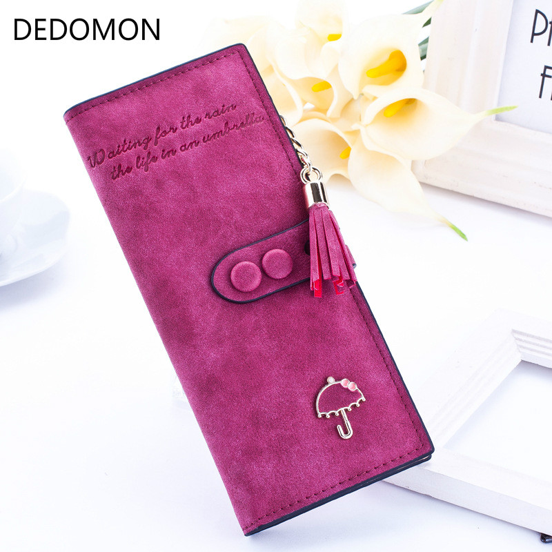 2019 Luxury Brand Designer Long Hasp Women Wallet Clutch Leather Tassel Zipper Purse With Umbrella Card Holder Coin Money Bag