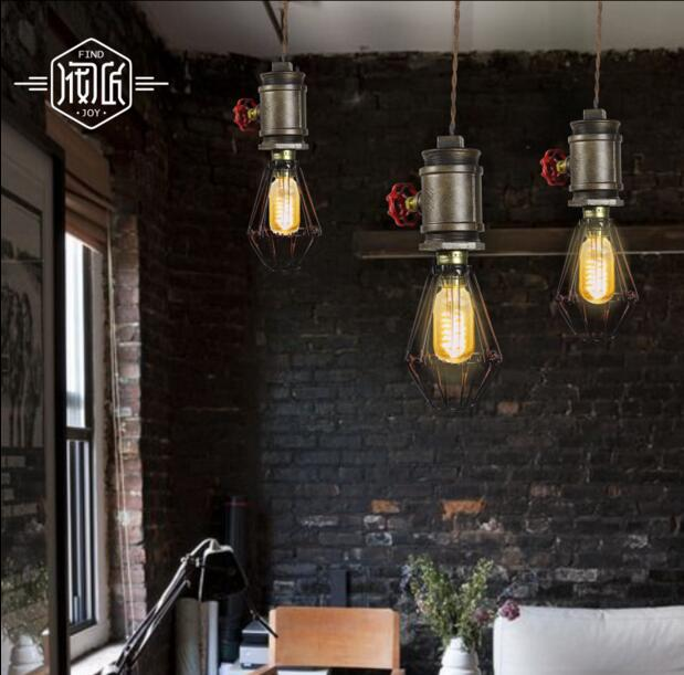Creative Retro Water Pipe Vintage Pendant Lights Fixtures For Dinning Room Edison Loft Industrial Lamp Hanging light Lampen retro loft style industrial vintage pendant lights hanging lamps edison pendant lamp for dinning room bar cafe