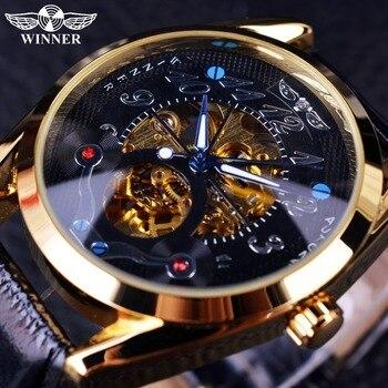 Winnerファッションカジュアルブラックダイヤルゴールデンケースデザイナー男性腕時計トップブランドの高級自動スケルトン高級時計男性時計男性