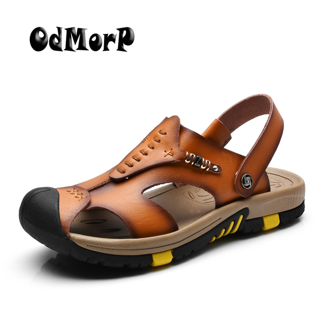 6e602f8e35a ODMORP New Summer Shoes Men s Leather Sandals Brown Casual Beach Sandals  Slippers Flat Fashion Design Sandals