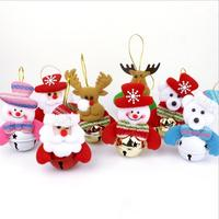 New Arrival 8pcs/Pack Jingling Bells Santa Claus Elk Snow Man Lovely Christmas Tree Ornaments Small Bell Christmas Gift