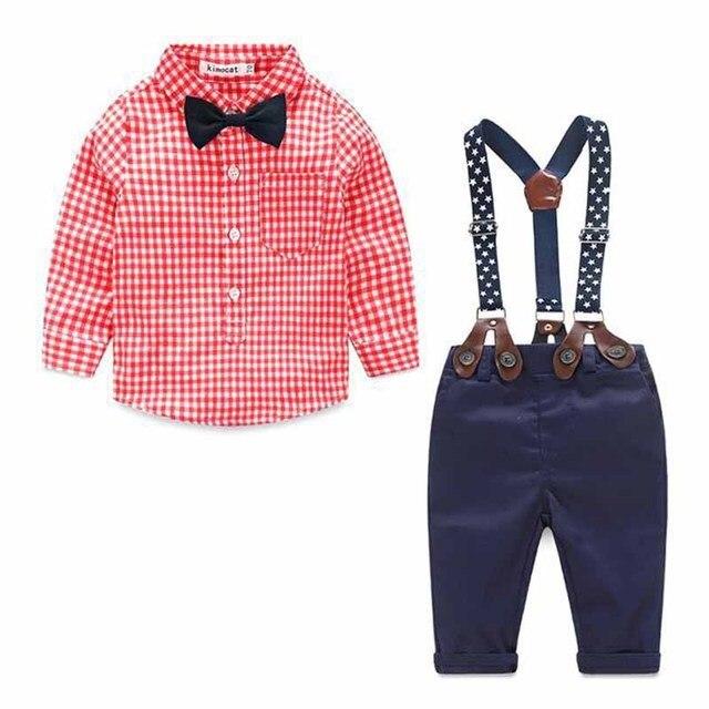 Детская мода мальчик одежда из хлопка мальчиков одежда установить с длинным рукавом футболка + ремень джинсы мальчик случайный костюм детская одежда