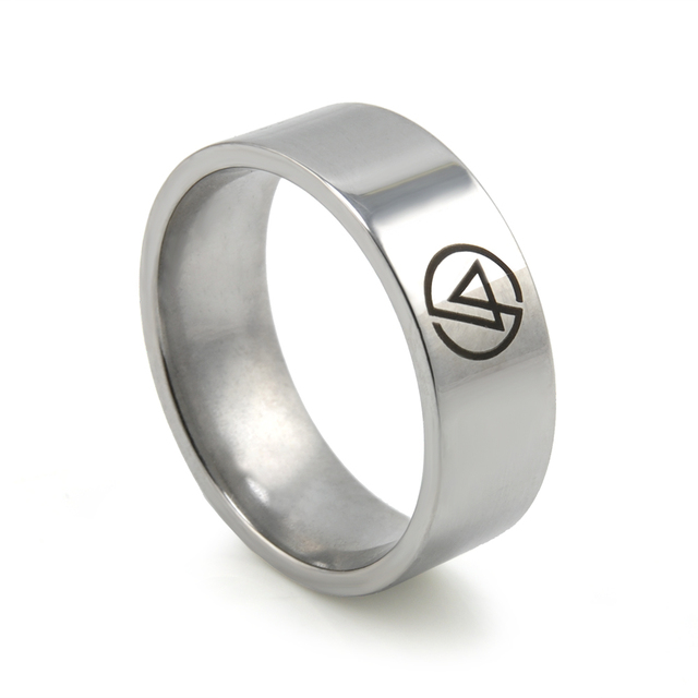 New Mens Fashion Rings Symbol Linkin Park Rock Band Stainless Steel