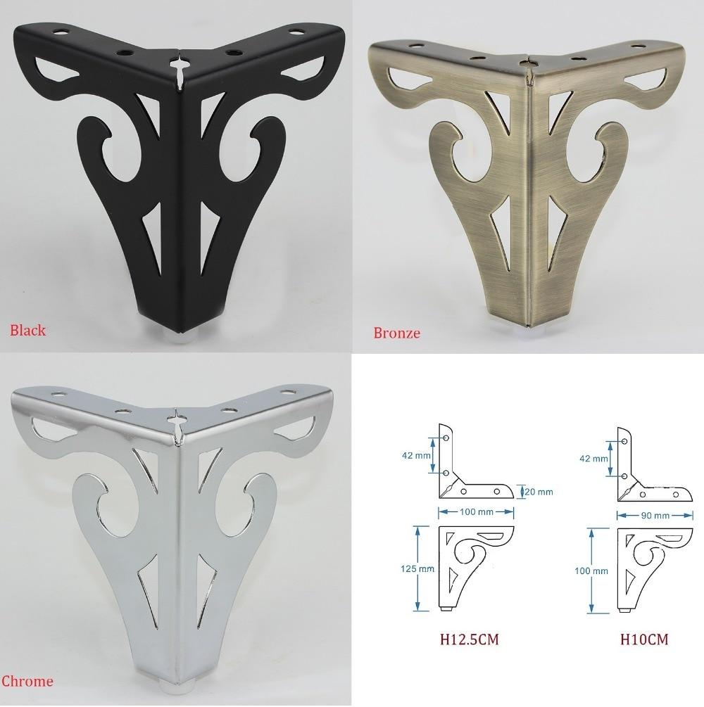 4Pcs/Lot Hollow Out Furniture Sofa Feet Legs Metal Sofa Table Cabinet Cupboard Bar Flower Pattern European Matte Black