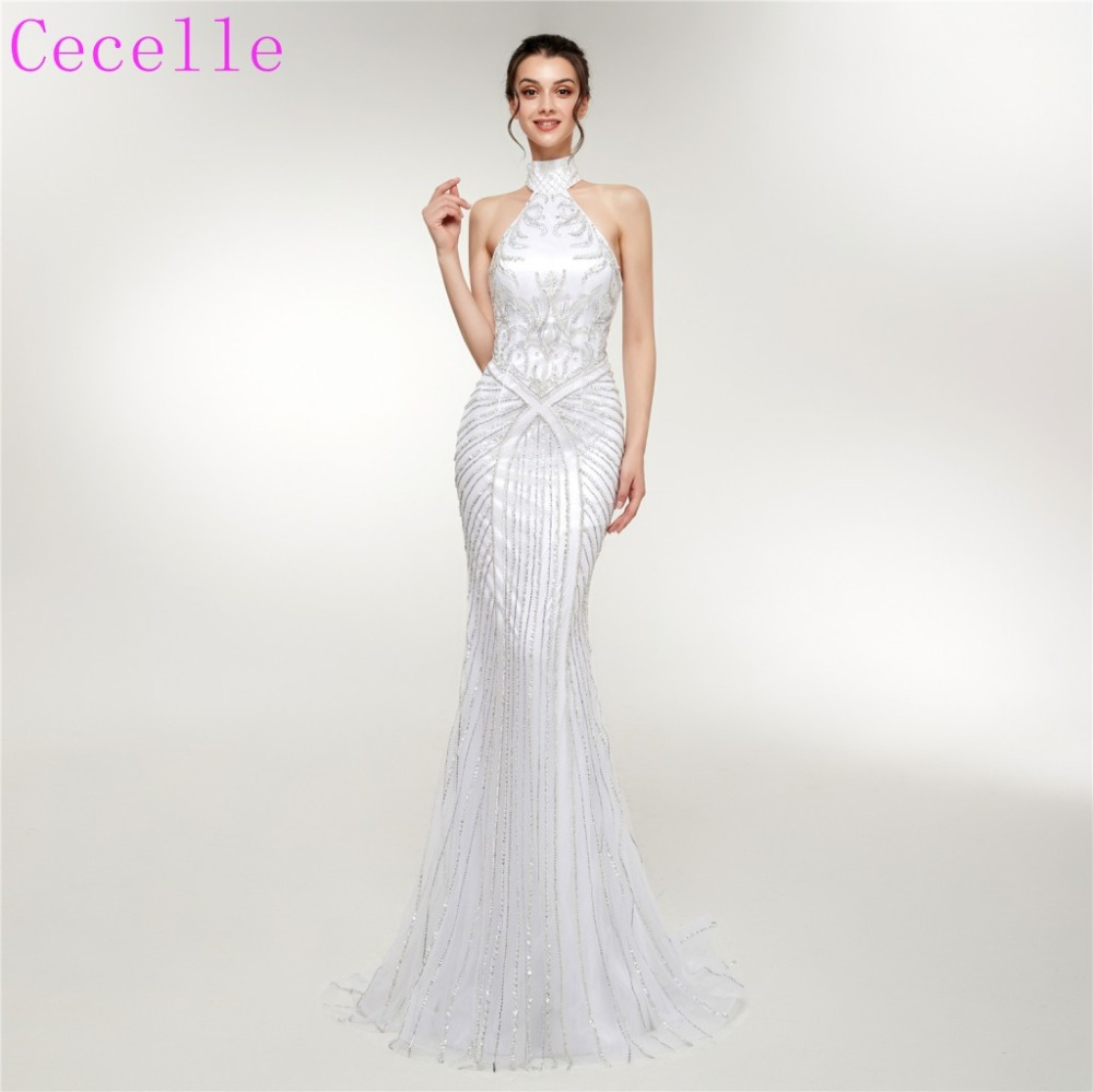 bcaeb07ecf0d6 US $322.32 29% OFF 2019 Latest Couture Beading Mermaid Long Evening Dresses  Halter Short Train Women High End Formal Night Wear-in Evening Dresses ...