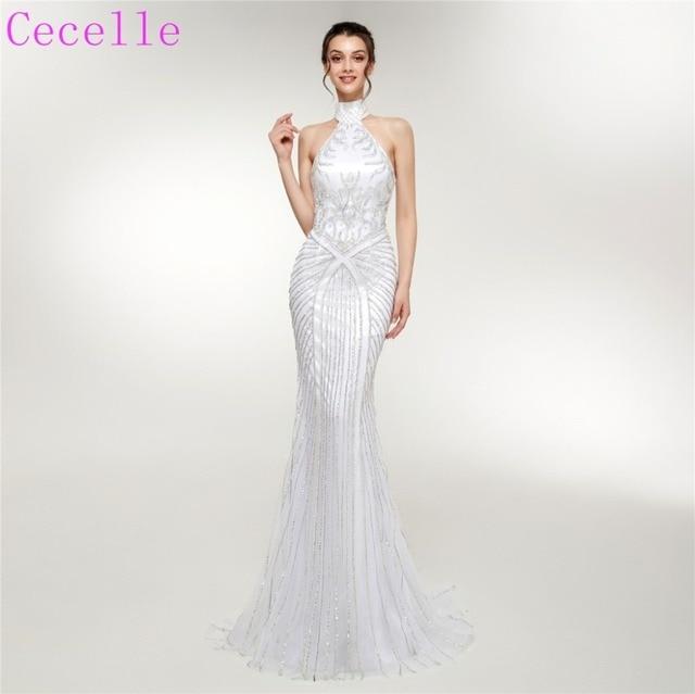 f3719aea93c 2019 Latest Couture Beading Mermaid Long Evening Dresses Halter Short Train  Women High End Formal Night Wear