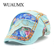 Wuaumx Summer Womens Hat Lace Beret Caps For Female Cotton Peaked Visors Sun Flat Cap Newsboy Boina Gorras Planas