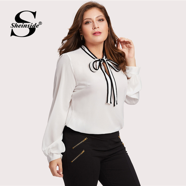 Sheinside Plus Size Chiffon White Tie Neck Ladies Top Women Long Sleeve Solid Elegant Autumn 2018 Womens Tops and Blouses 2