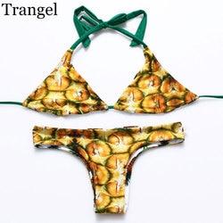 Trangel, новинка, бразильский двусторонний купальник, бикини, сексуальный женский купальник, ананас, серия, с принтом, бикини, Холтер, купальник... 3