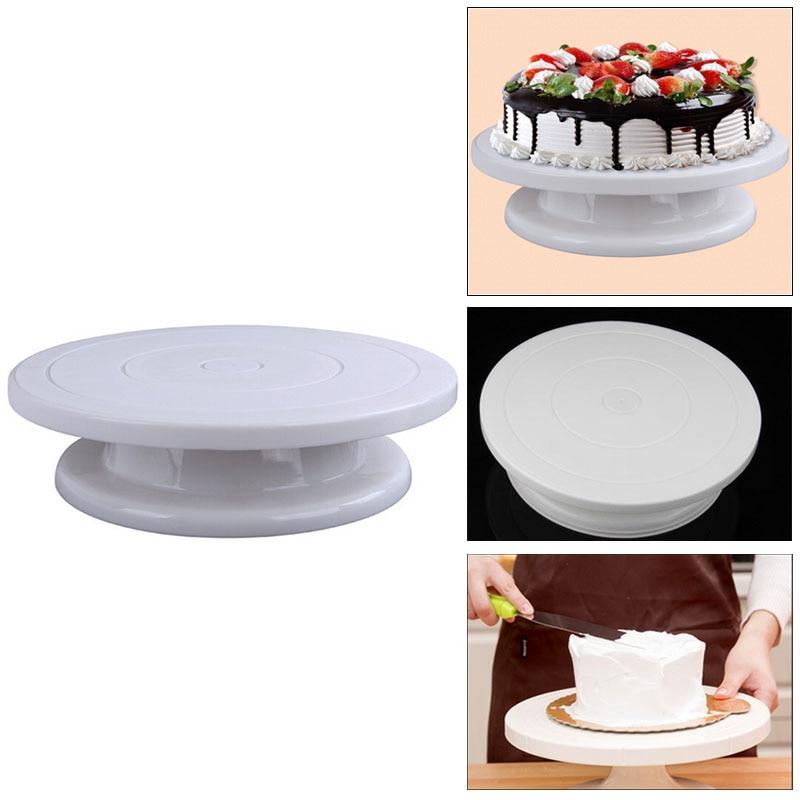 Kitchen Cake Plate Revolving Decoration Stand Platform Turntable Round Rotating Cake Swivel Christmas
