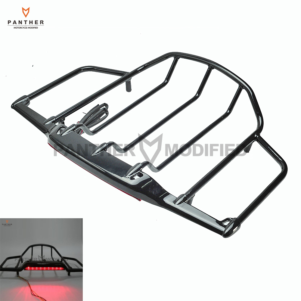 Black Motorcycle Luggage Rack With LED Rear Light Moto Rear decoration case for Harley Air Wing Tour Pak Trunk Pack 1993-2013 luggage